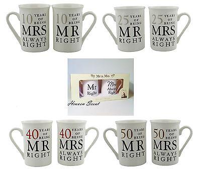 Mr Right Mrs Always Right Mug Wedding Anniversary Gift Ideas 10th 25th 40th 50th - 50th Wedding Anniversary Ideas