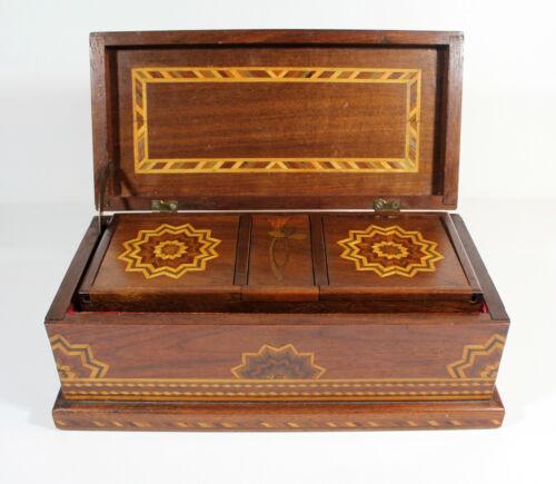 Antique American Folk Art WALNUT MARQUETRY Inlay JEWELRY BOX Dovetailed Inlaid