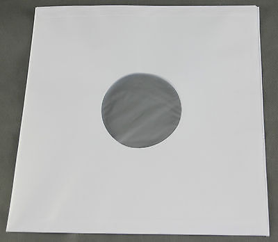 100 St. reinweiße LP/Maxi Singles Papier Innenhüllen, gefüttert,90 gr.