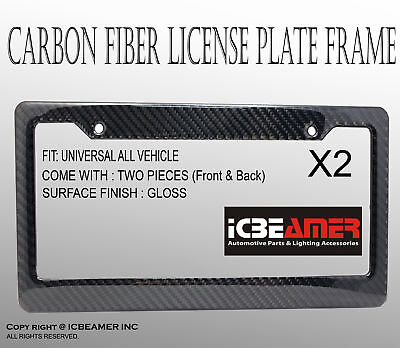 JDM 2 pcs Black Carbon Fiber Sun Water Weather Proof License Plate Fame K91