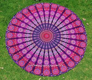 rond indien fait main plage yoga tapis de sol hippie mandala rond nappe de table ebay. Black Bedroom Furniture Sets. Home Design Ideas
