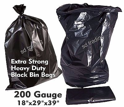 200 Extra Strong Heavy Duty 200 Gauge Black Bin Refuse Bags Sacks