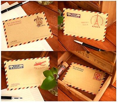 10 Pcs Vintage Envelopes Mini Retro Airmail Brown Kraft Paper - UK STORE