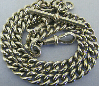 Heavy Antique Solid Silver Double Albert Pocket Watch Chain T-Bar Bir 1913