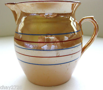 VTG LUSTER PITCHER WITH RED AND BLUE STRIPES  MADE IN CZECHOSLOVAKIA