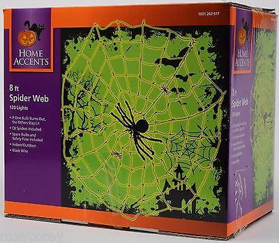 Halloween Home Accents 8 ft Tinsel Spider Web 120 Mini Incandescent Lights NIB