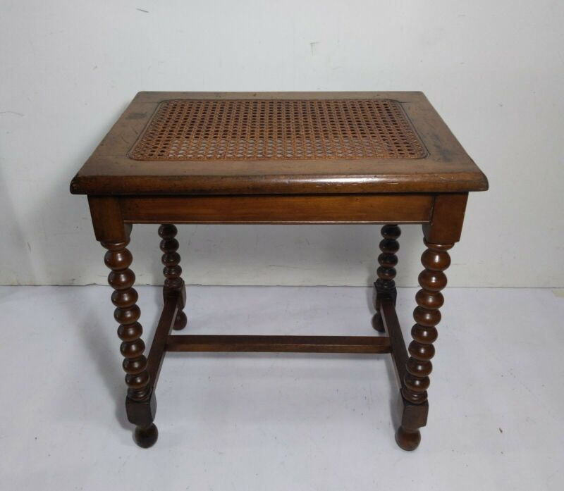 Antique Northern Furniture Co. Cane Piano Bench Stool Bobbin Spool Turned Wood