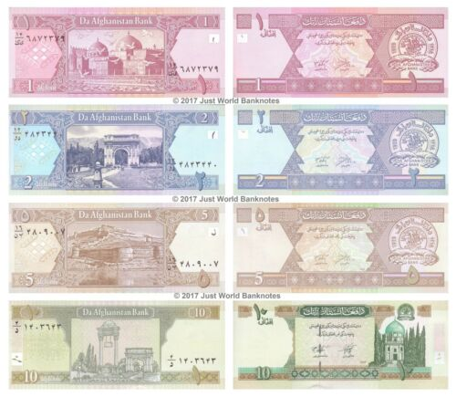 AFGHANISTAN 1 + 2 + 5 + 10 AFGHANIS 2002 Set of 4 Banknotes 4 PCS UNC