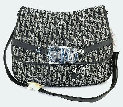 Christian Dior Diorissimo Canvas Trotter Messenger Shoulder Bag - Navy  Dior Messenger Bags