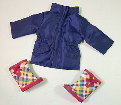 Purple Rain Jacket & Plaid Rainboots for 18