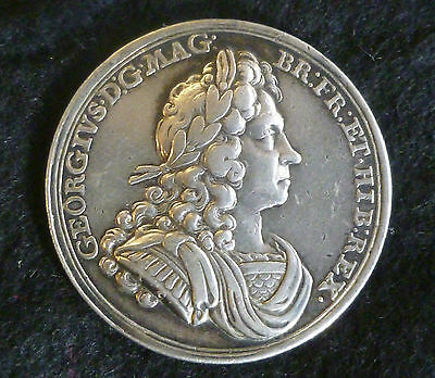 George I Official Silver Coronation Medallion 1714 By J. Croker Rare