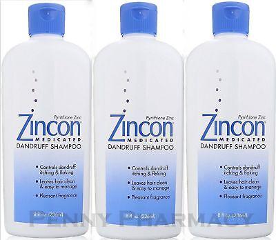 Zincon Dandruff Shampoo 8oz  ( 3 pack ) PRIORITY INSURED! - Zincon Dandruff Shampoo