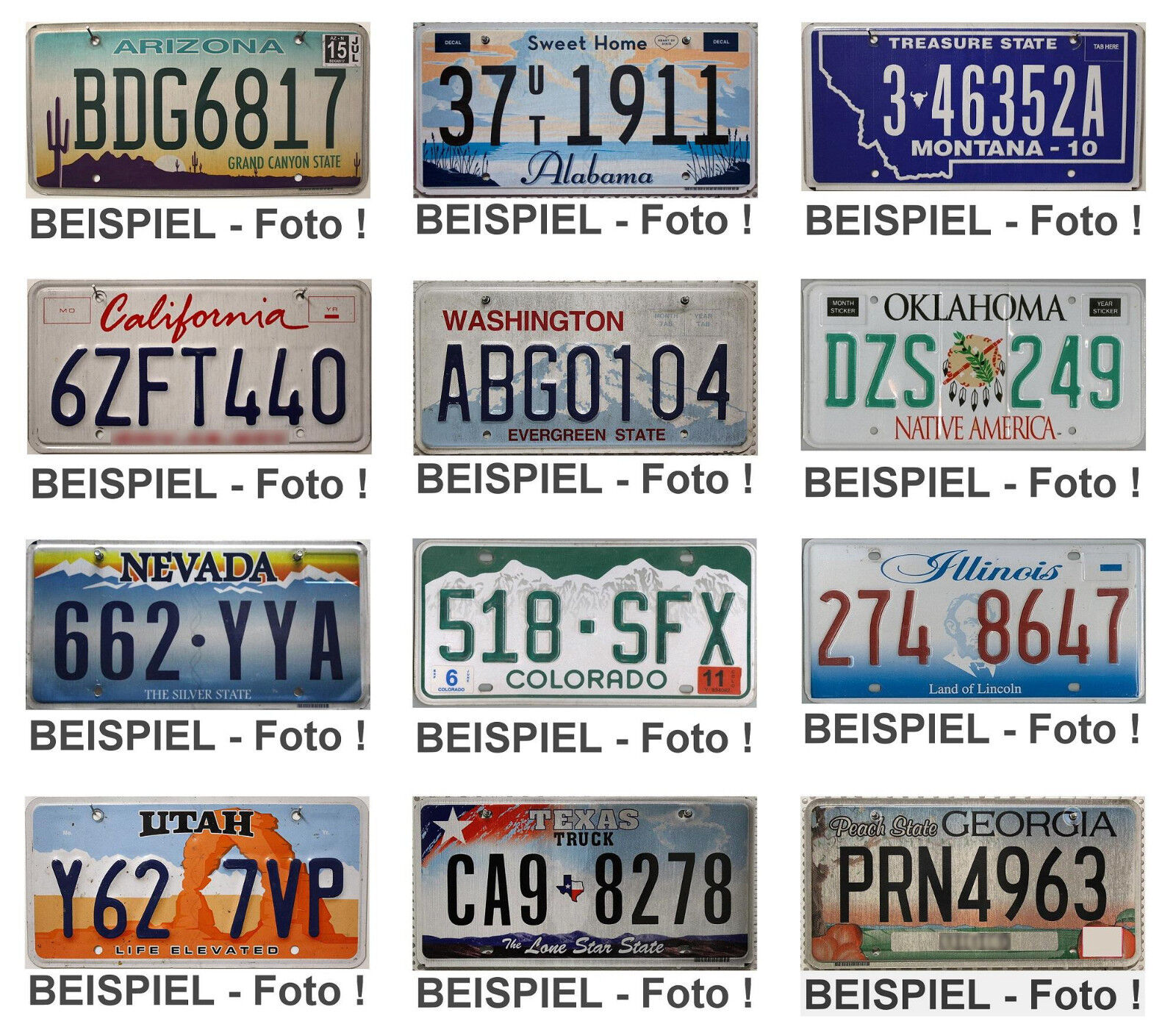 -4- USA Nummernschilder als SET / US Kennzeichen Original KFZ Schilder / AUSWAHL