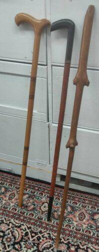 LOT 3 vintage wooden walking Canes