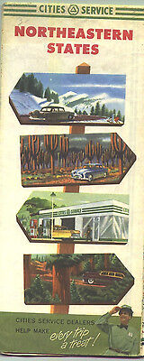 1950s Cities Service Northeastern States Vintage Road Map