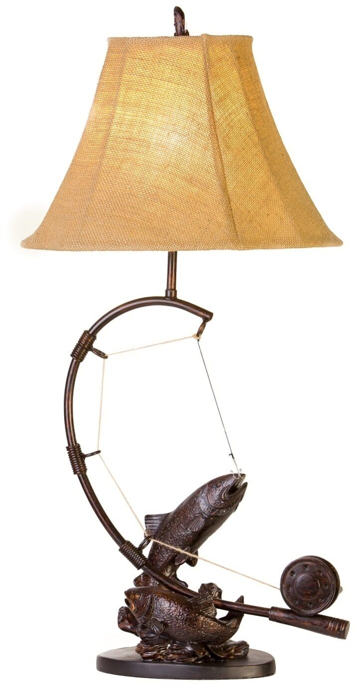 fly rod trout fish table lamp fishing