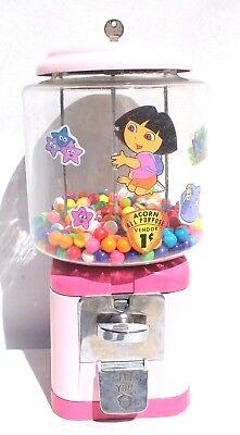 Vtg Acorn 1 Cent Pink Girls Dora The Explorer Gum Ball Machine  - Working W/ Key