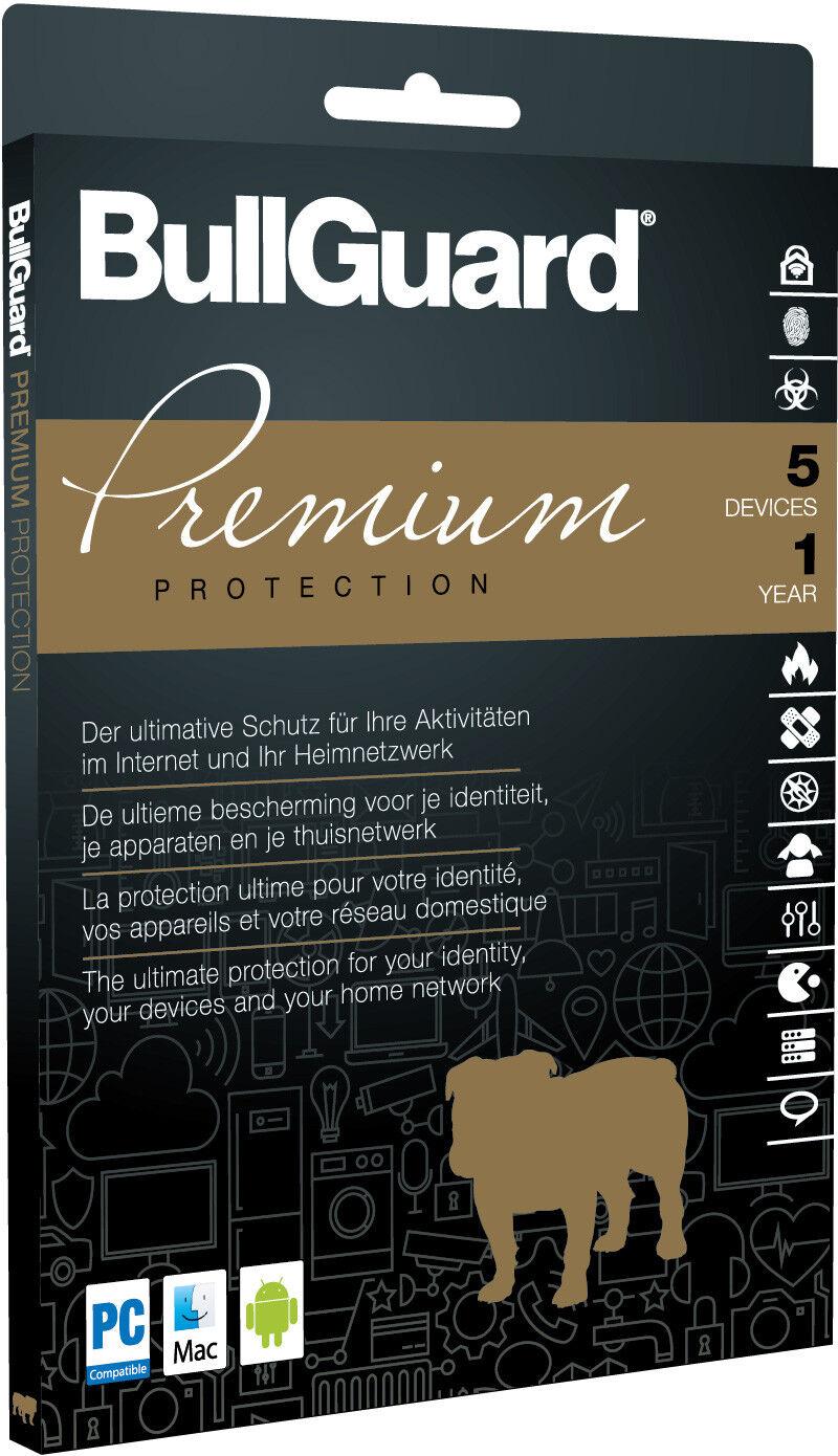 Bullguard PREMIUM PROTECTION 2018 Multidevice 5 PC  VerschlüsseltesCloud-Backup