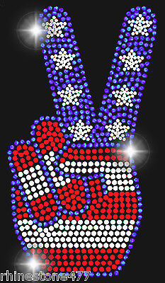 4th Of July Signs (4th of July Peace Sign Rhinestone Iron On Transfer Patriotic Applique Bling)