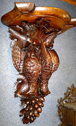 Antique Black Forest Carved Clock Wall Bracket Shelf Console-Fruits of the Hunt-