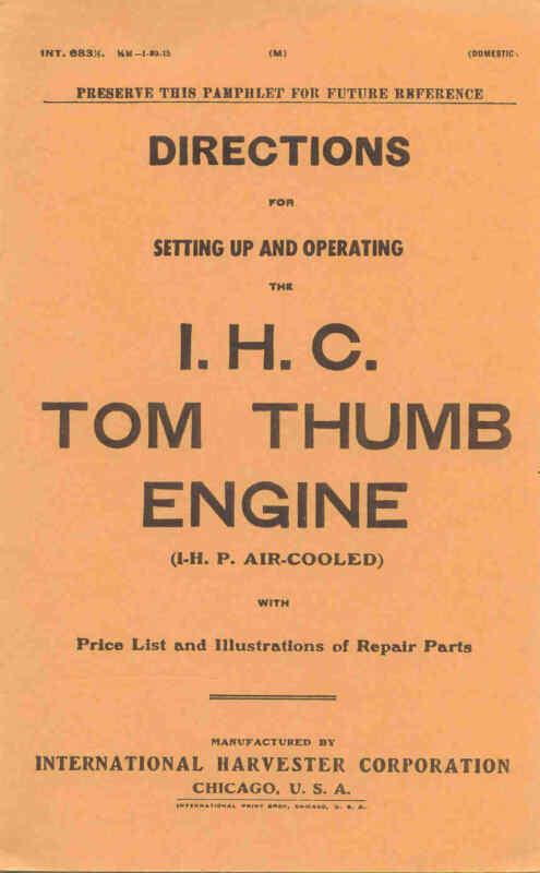 IHC Instructions & Parts, Tom Thumb, 1 HP, 1915 reprint