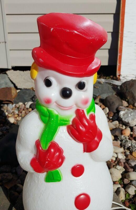 "Carolina Enterprise Blow Mold Red Hat Snowman Lighted Christmas Decoration 22"" T"