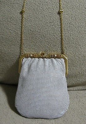 1920s Handbags, Purses, and Shopping Bag Styles Vintage 1920's WHITING & DAVIS Gold Framed White Metal Mesh Pursette Evening Bag $149.99 AT vintagedancer.com