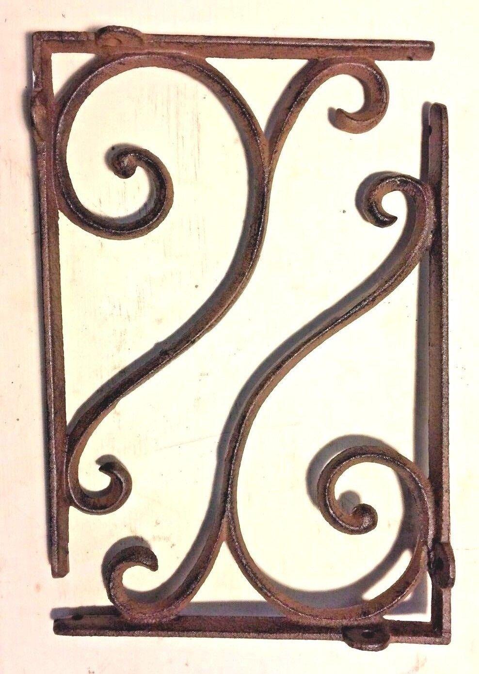 SET OF 4 LARGE RUSTIC  BROWN SCROLL BRACE//BRACKET vintage looking patina finish