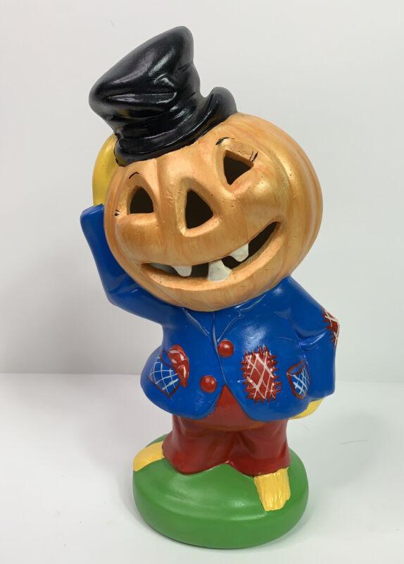 "Yozie Mold Jack O Lantern Pumpkin Head Scarecrow 12"" Ceramic Halloween"