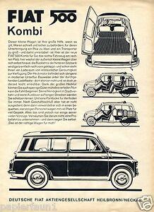 Fiat 500 Kombi Reklame von 1960 Werbung Heilbronn Neckar Auto Italien