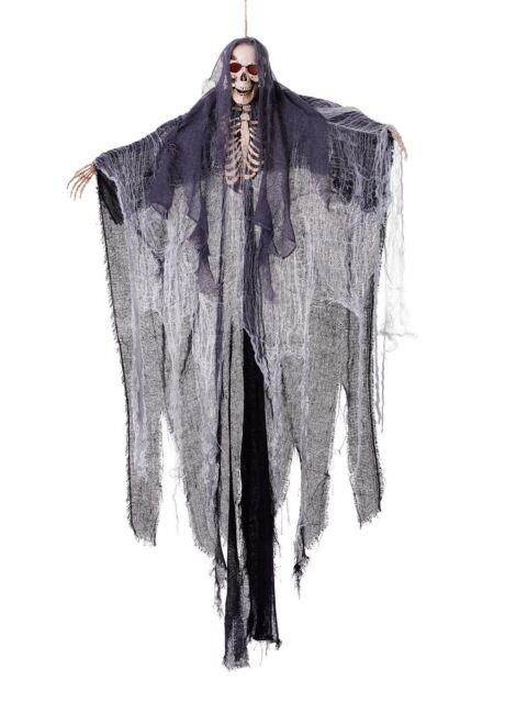 Giant 182 cm Hanging SKELETON SHROUD Grim Reaper & LIGHT UP EYES Halloween Prop