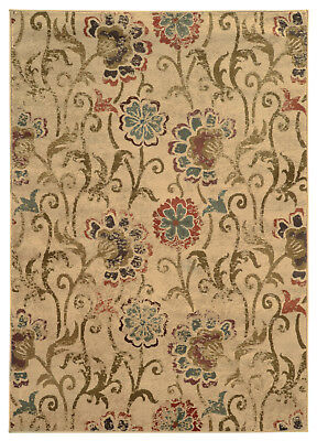 Ivory Transitional Synthetics Leaves Flowers Scrolls Area Rug Floral 4877B