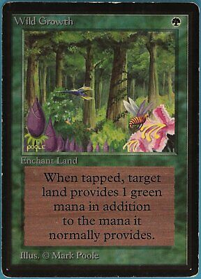Wild Growth Beta HEAVILY PLD Green Common MAGIC MTG CARD (ID# 107306) ABUGames