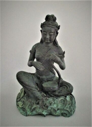 Antique Thai Bronze Statue Large 19th Century Female Figure