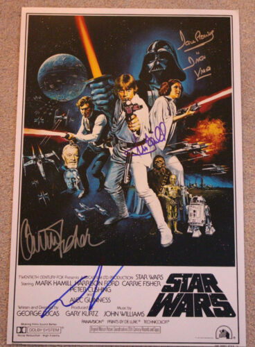STAR WARS EPISODE IV A NEW HOPE CAST SIGNED 12x18 MOVIE POSTER X4 BECKETT BAS