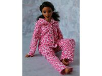 №065 Clothes for Curvy Barbie Doll Flannel Pajamas for Dolls.
