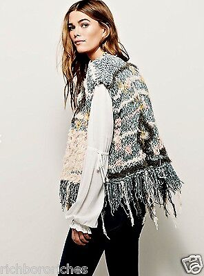 NWT Free People muted green blush tan shaggy fringed Sweater Vest M