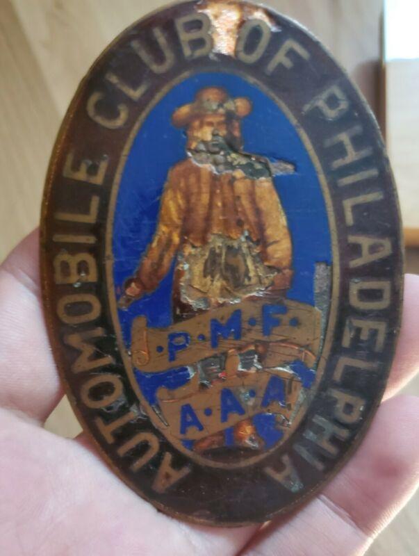 Vintage Rare Old Radiator Grill Automobile Club Of Philadelphia Badge Emblem