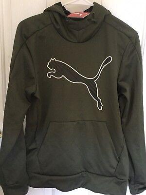 PUMA men Small Big Cat Polyester Olive Night logo lightweight warm cozy hoody