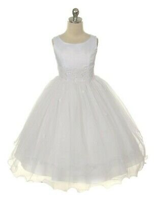 White First Communion Dresses (White First Communion Flower Girl Dress Lace Tulle Layered  Easter Wedding)