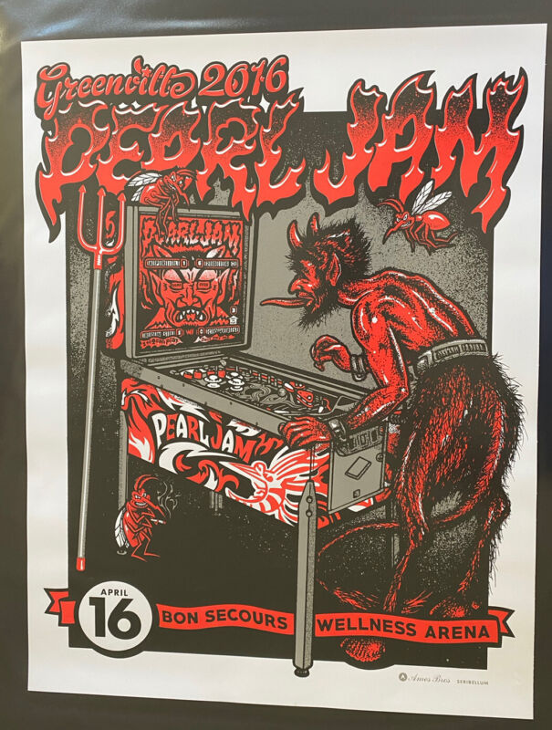 Pearl Jam Greenville 2016 Poster- Ames Bros.- VS SHOW