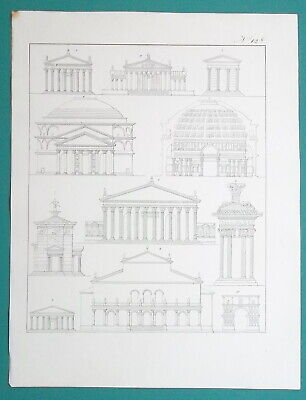 ARCHITECTURE Greek Roman Athens Rome Wind Tower Pantheon - 1828 Antique Print