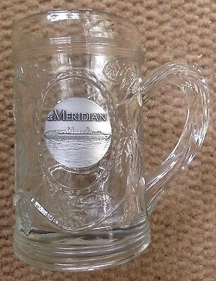 1990   1997 Ss Meridian Celebrity Cruises Glass Beer Mug With Pewter Disc  New