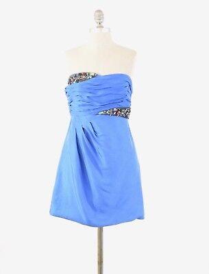 Tibi Dress 4 Royal Blue Silk Dupioni Beaded Trim Strapless Mini Bubble