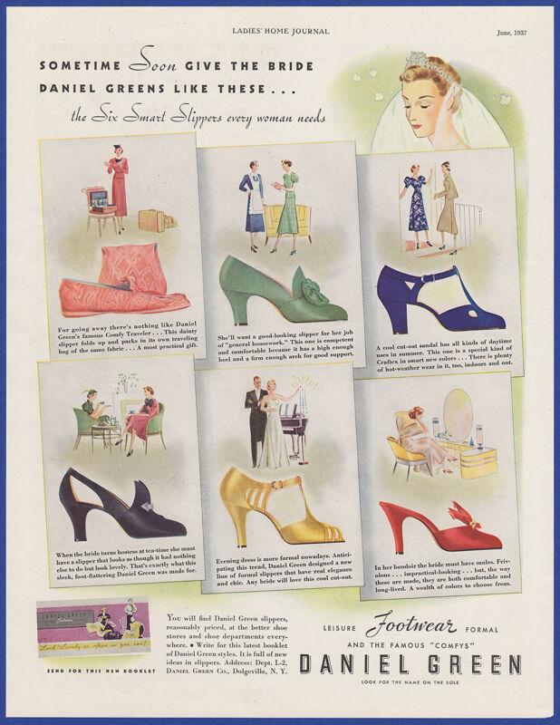 Vintage 1937 DANIEL GREEN Leisure Footwear Shoes Fashion Art Decor Print Ad 30
