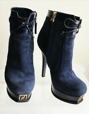 FENDI Fendista Boots 37.5 (US 7 - 7.5) Logo FF, Blue, Platform, Authentic