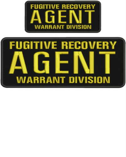 Fugitive Recovery Agent Warrant Division embroidery patch gold 4x10 & 2x5 hook