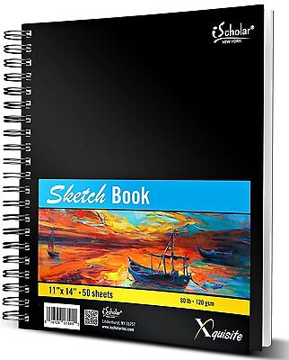 iScholar Xquisite Sketch Book, Double Wirebound, 50 Sheets, Black, 11 x 14'',NEW