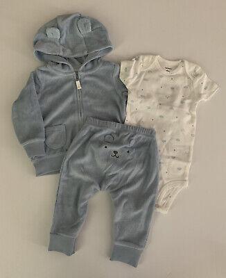 Carters Baby Boy Terry Jacket Bodysuit Pants Set Size 6 9 12 Months Blue Koala