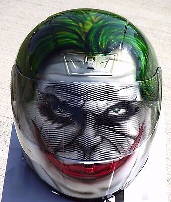 Airbrush Motorcycle Paint (The Joker Custom Airbrush Painted motorcycle helmet )